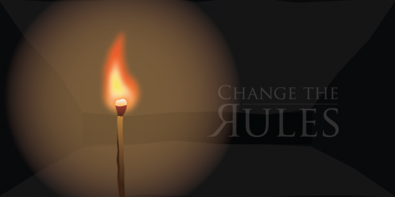 Change The Rules - a match illuminating a dark room